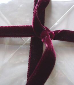 Double Faced Velvet Ribbon Burgundy 3/8in x 11.5ft