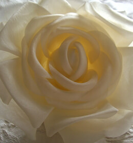 Fabric Rose with Salon Style Clip & Pin Ivory 4in