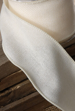 Burlap Ribbon Ivory 3in