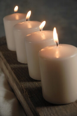 Small Pillar Candles 3 Inch Sandstone (pack of 4)