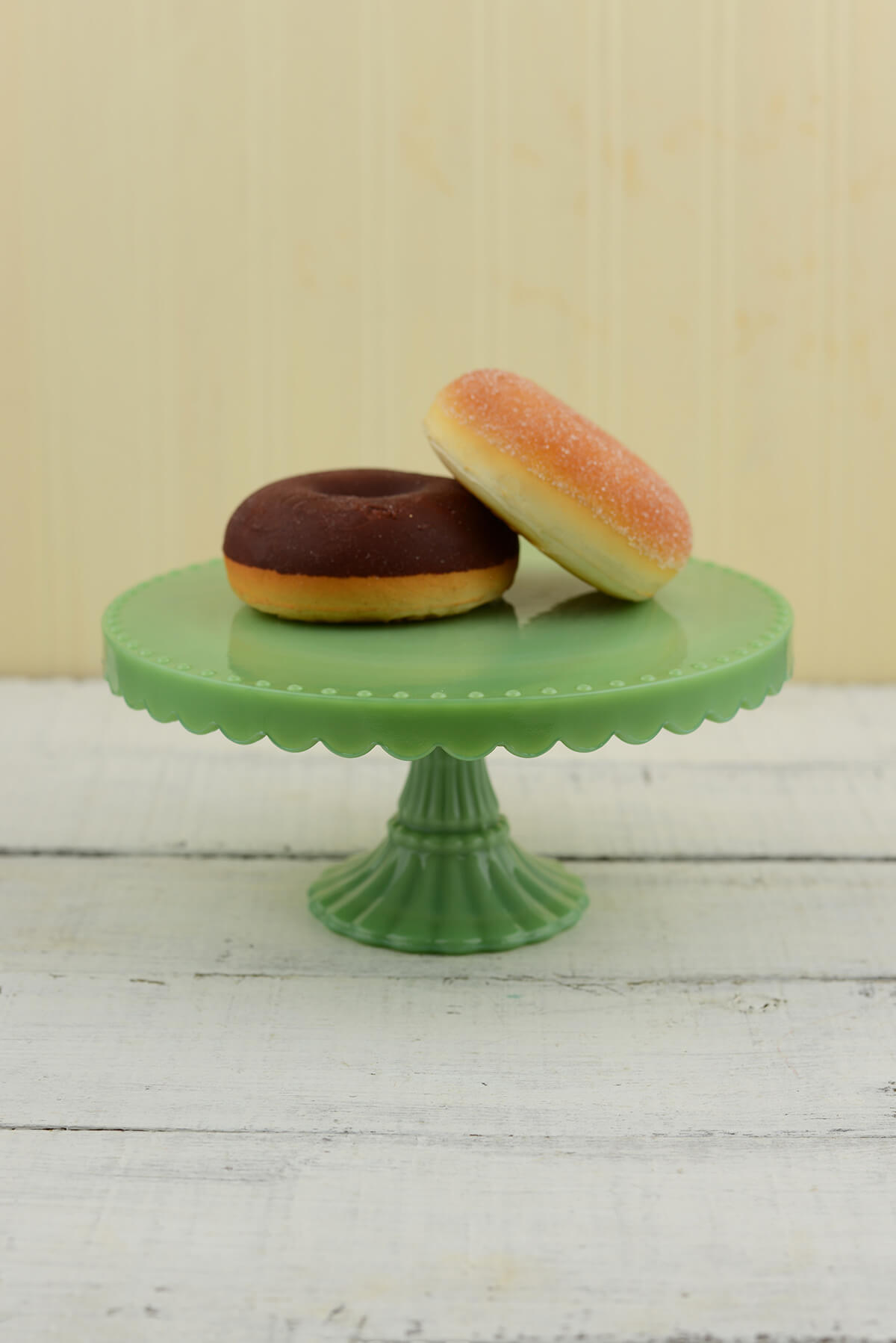 Jade Milk Glass Cake Stand 8in