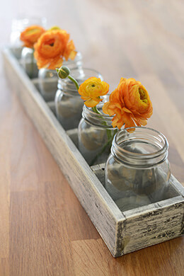 Long Whitewash Wood Crate with 6 Mason Jars 23""