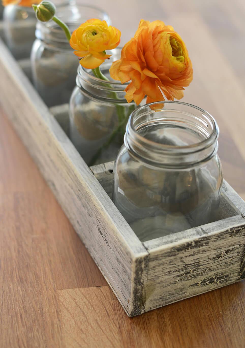"Long Whitewash Wood Crate with 6 Mason Jars 23"""