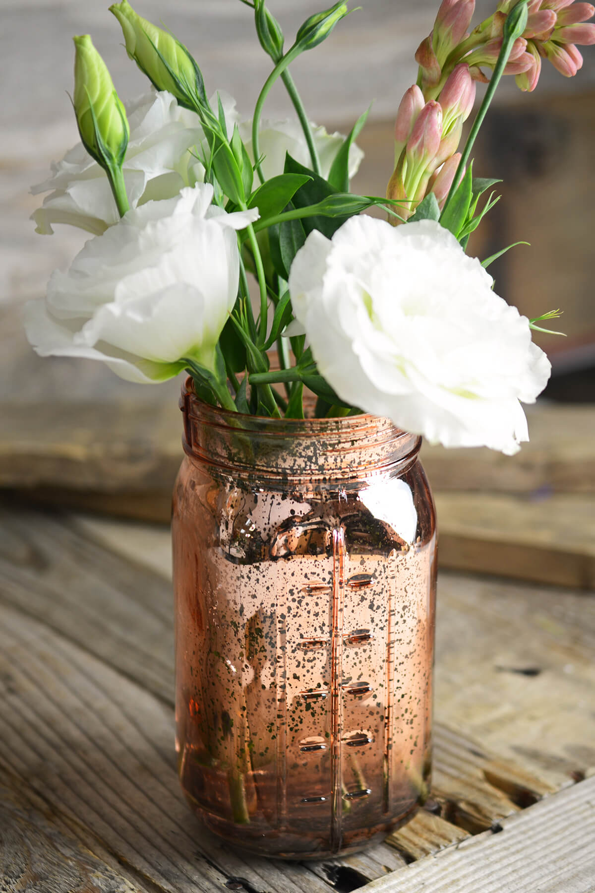 Pink Rose Gold Mercury Glass Mason Jars