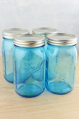 Mason Jars 4-  16 Oz. Blue Wide Mouth Jars