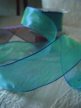 "Jewel Tone Blue Ice with Green Organdy Ribbon Wired 1.5"" wide 9 yds"