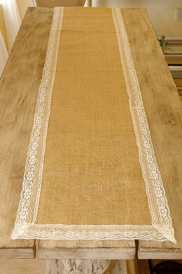 Burlap & Lace Table Runner 16x74in