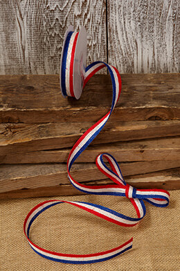 Jute Ribbon  Red, White, & Blue 5/8in