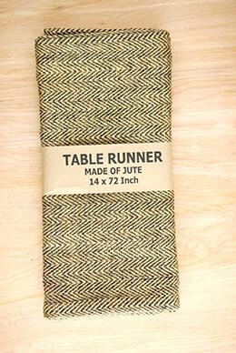 Jute Table Runner Herringbone Black 14x72in
