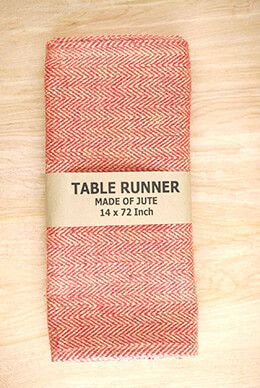 Jute Table Runner Herringbone Red 14x72in