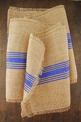 Blue Striped Burlap Runner 12.5 x 108""