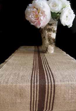 Brown Striped Burlap Runner 12.5 x 9 Feet