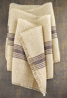 Jute Table Runner Brown Stripe 12.5x108in