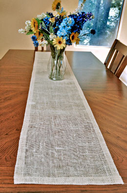 Ivory White Jute Table Runner 14x72in