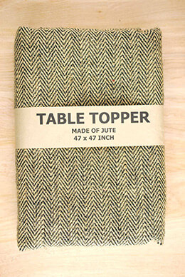 Jute Tablecloth Herringbone Black 47x47in
