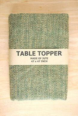 Jute Tablecloth Herringbone Green 47x47in