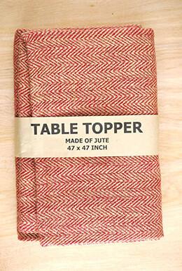 Jute Tablecloth Herringbone Red 47x47in
