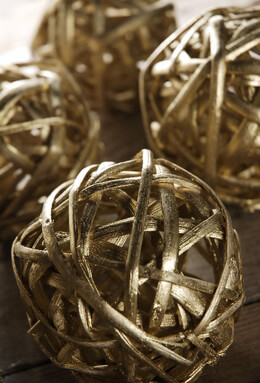 "Gold 4"" Twig Balls  Pack of 6"