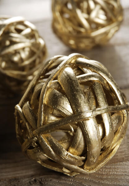 Twig balls gold in pack of
