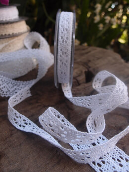 "White L�beck Cotton Needle Lace Ribbon 1/2"" x 16 yards"