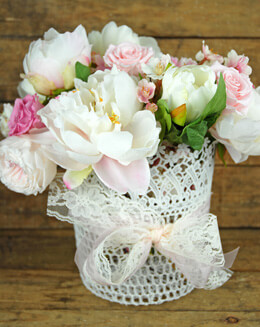 Lace Basket White 8in