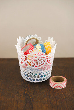 Lace Basket White 4.25in