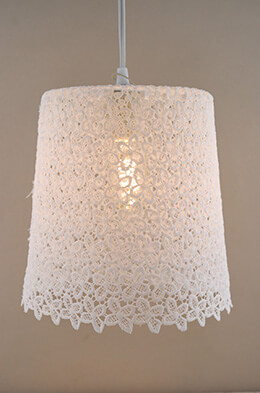 Stiffened Lace Hanging Lampshade  8.5 x 9.5in