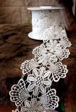 Floral Euro Lace Ribbon  Antique White 3in x 5yd