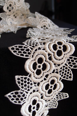 Lace Ribbon Floral Ivory 4in x 5yd