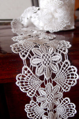 "Floral Euro Lace Ribbon  White 3"" Wide x  5 yards"