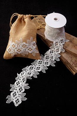 Lace Ribbon Floral White 4in x 5yd