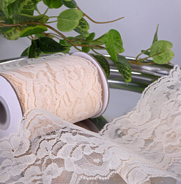 Lace Ribbon Ivory 4in x 10yds