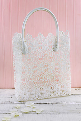 Lace Tote White 17x10.5x4in