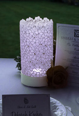 Stiffened Lace LED Votive Lantern, Cool White