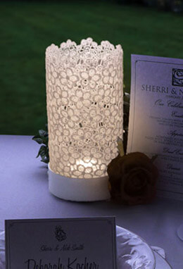 Stiffened White Lace LED Lantern, Warm White