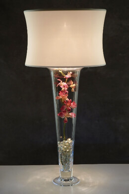 Ivory Drum Lighted Lamp Shade  for Tall Trumpet Vases