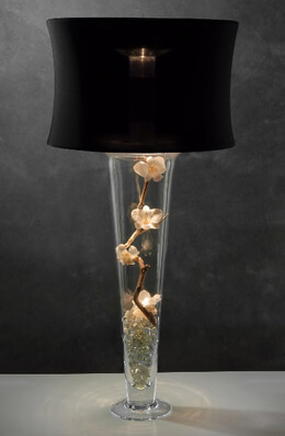 Black Lamp Shade and Light for Vases