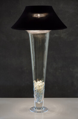 Lamp Shade with Lights - Black Spandex Shade