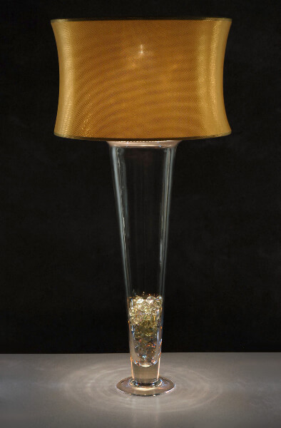 Gold Micro-dot Lighted Vase Shade for Tall Trumpet Vases