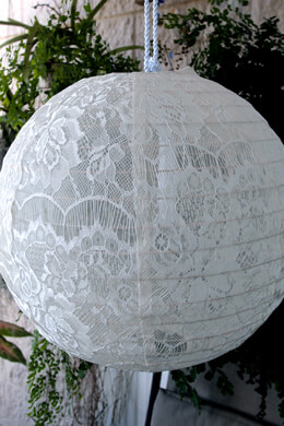 White Lace Fabric Hanging Lanterns 20""