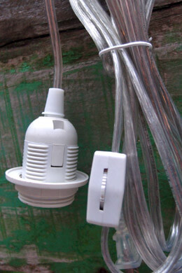 Pendant Light Cord, Standard Socket, E26 / E27, 11 feet, Indoor, Clear Cord