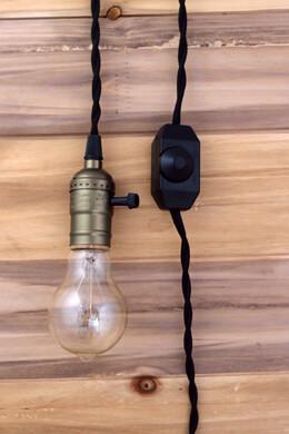 Copper Pendant Light, Vintage Black Cloth Cord, Dimmer, Single Socket, 11 ft, Indoor