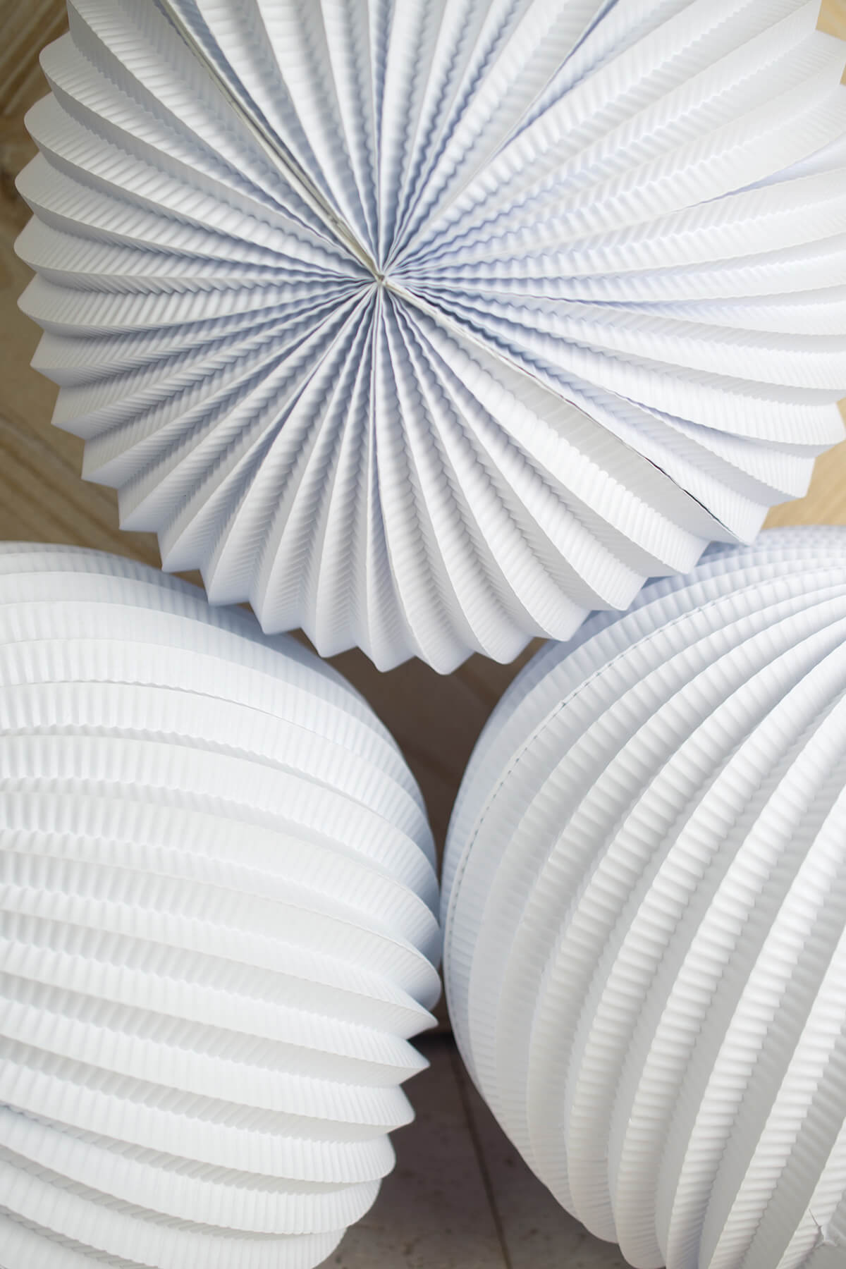 White Accordian Paper Lanterns 12in  (3 pack)