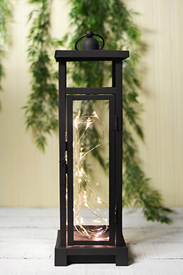 Lantern w/30 LEDs Square 15.5in Rust