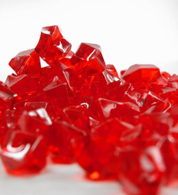 """Large 1"""" Red Acrylic Ice Chunks Vase Gems 14 oz."""