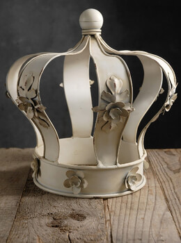 "Large 10.5"" Cream Floral Edge Metal Crown"