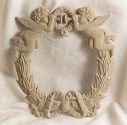 "Large 9"" Shabby Wreath with Cupids and Trumpets"