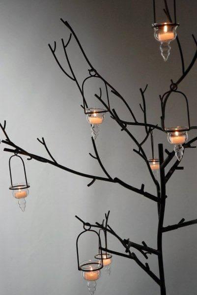 Large black metal display candle tree event decor