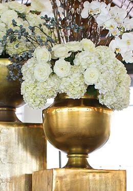 Large Metal Vase Gold 15.25 x 15.75in
