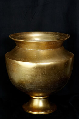 "Agra Large Gold Metal Urn Vase 15.25""x 15.75"